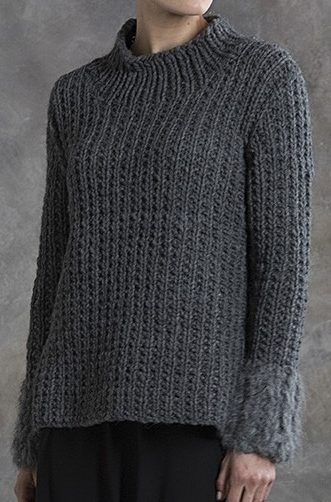 Knitting Pattern for 2 Row Repeat Chestnut Pullover