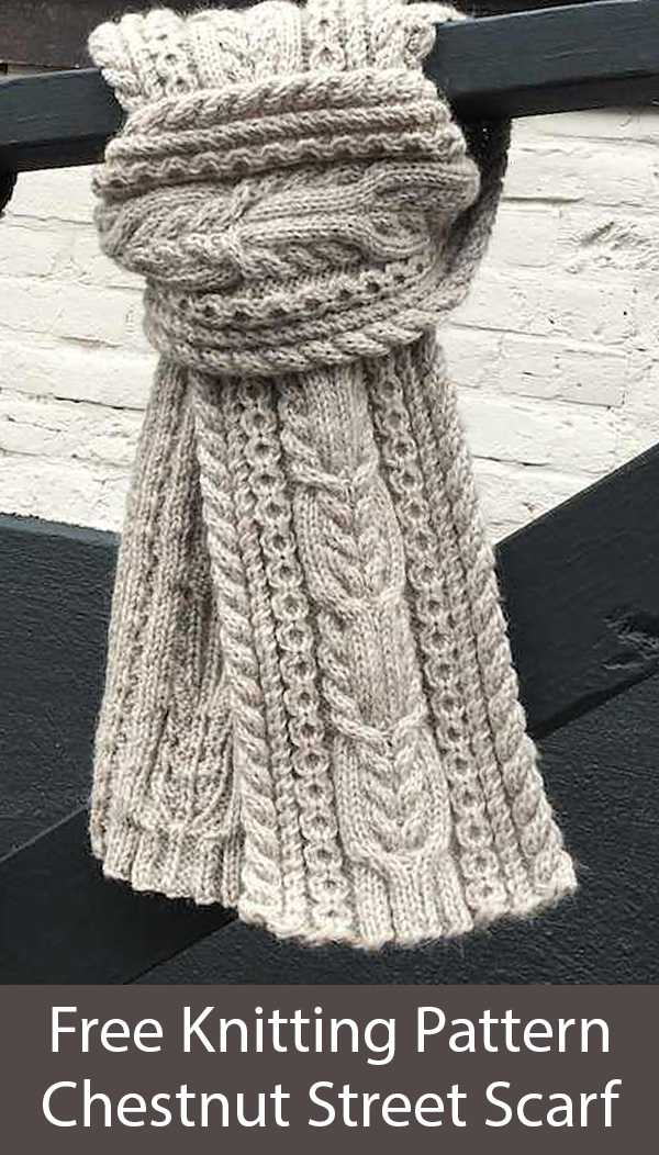 Free Knitting Pattern for Chestnut Street Cabled Scarf