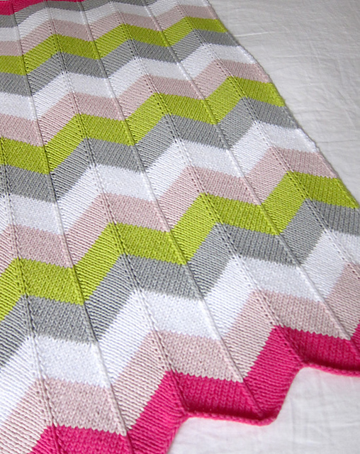Free Knitting Pattern for Chevron Baby Blanket