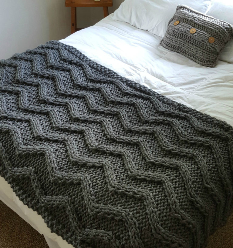 Knitting Pattern for Chevron Cable Blanket