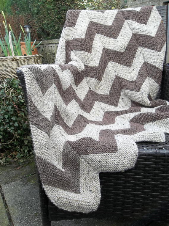 Knitting Pattern for Chevron Garter Stitch Throw