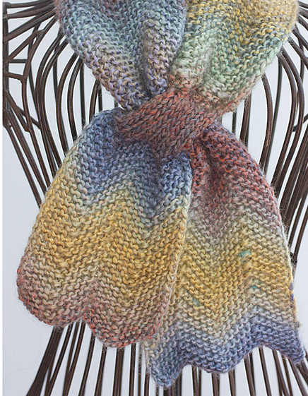 Knitting Pattern for Chevron Keyhole Scarf