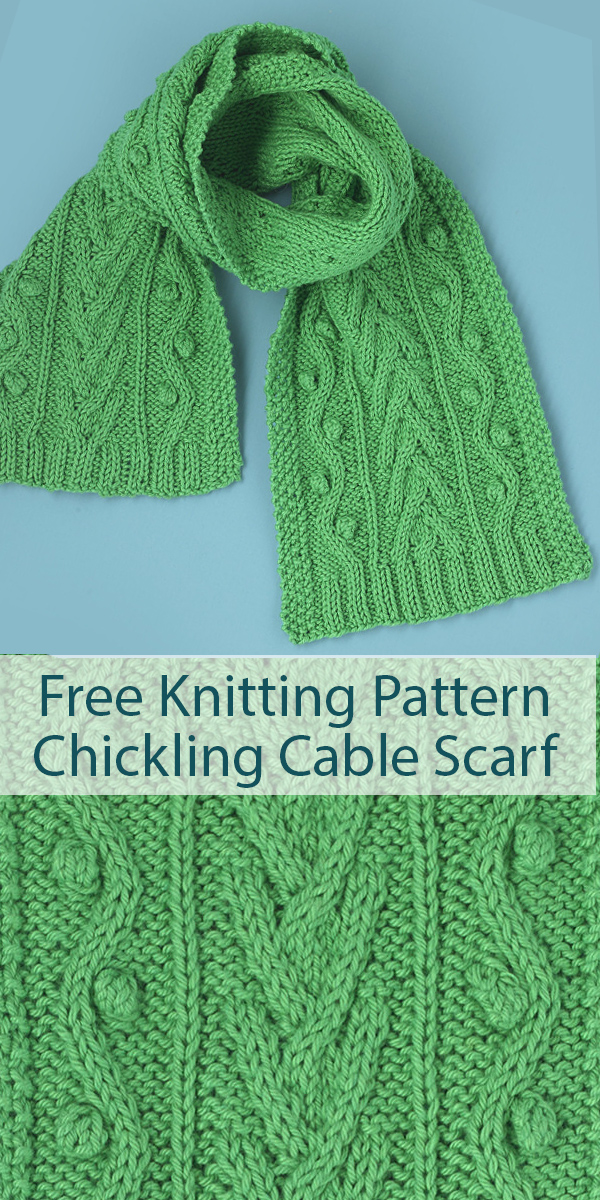 Free Knitting Pattern for Chickling Cable Scarf