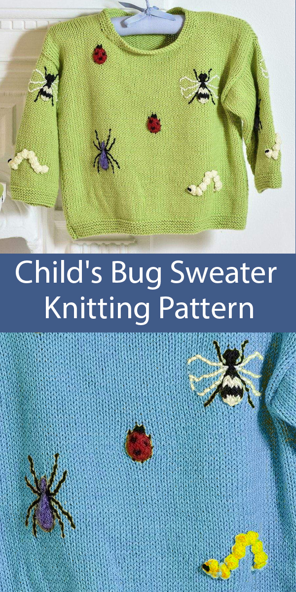 Knitting Pattern for Child's Bug Sweater with ladybugs, bees, spiders, and caterpillars