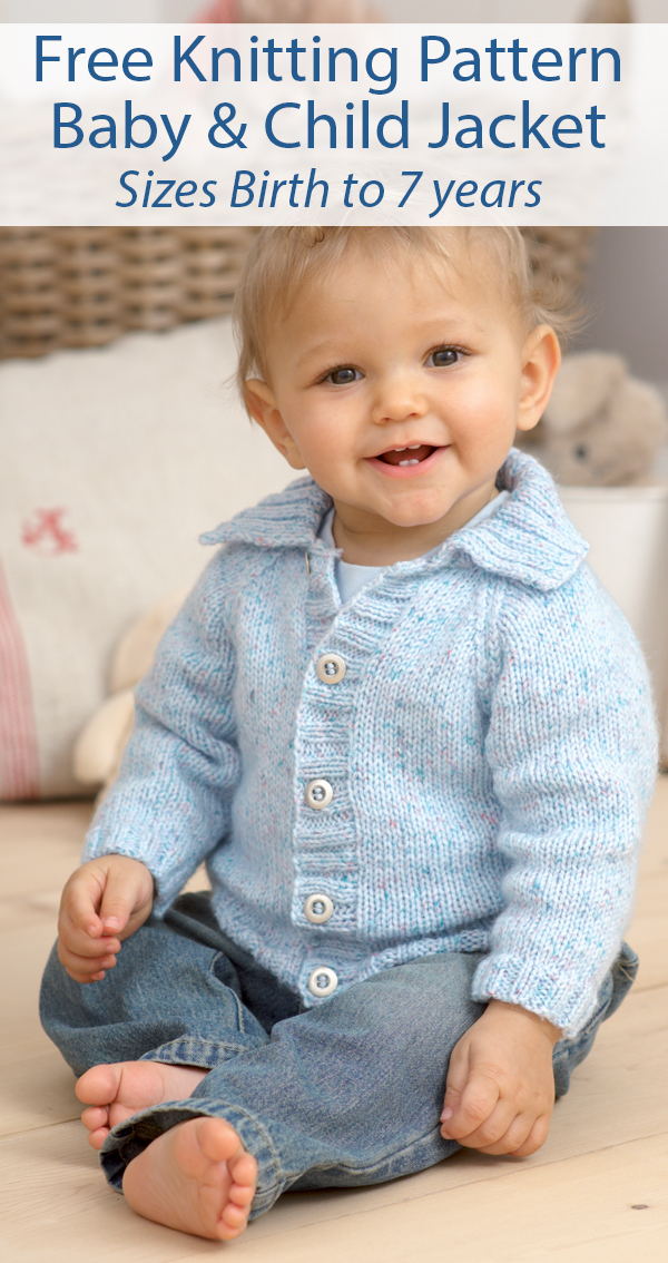 Free Knitting Pattern for Baby and Child Jacket with Optional Hood