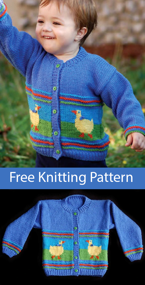 Free Knitting Pattern for Duck Cardigan for Children