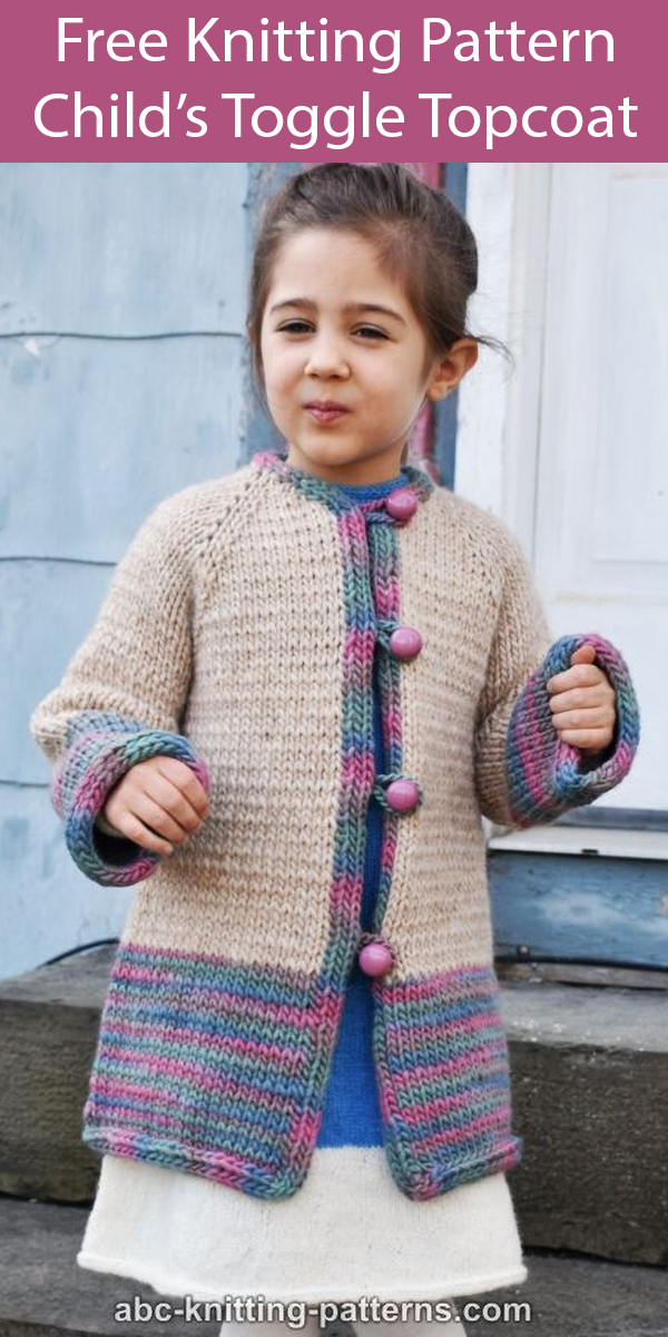 Free Knitting Pattern for Children's Toggle Topcoat Cardigan