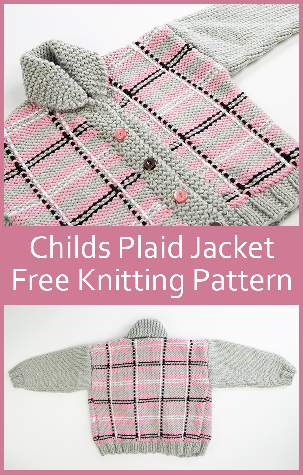 Free Knitting Pattern for Child's Plaid Jacket