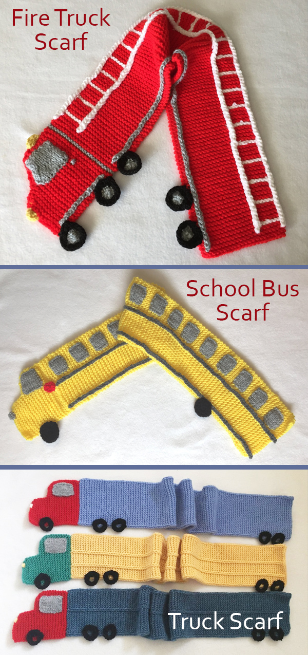 Knitting Patterns for Fire Truck Scarf, School Bus Scarf, and Trailer Truck Scarf