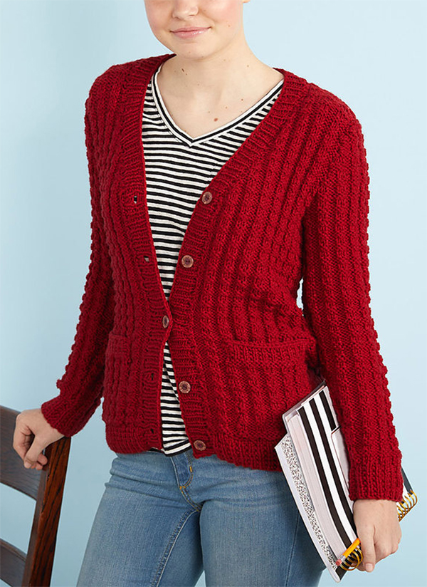 Free Knitting Pattern for 4 Row Repeat Chillin' Out Cardigan
