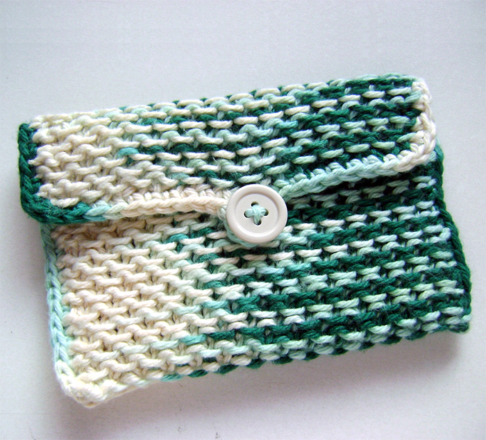 Free Knitting Pattern for Chinese Waves Pouch