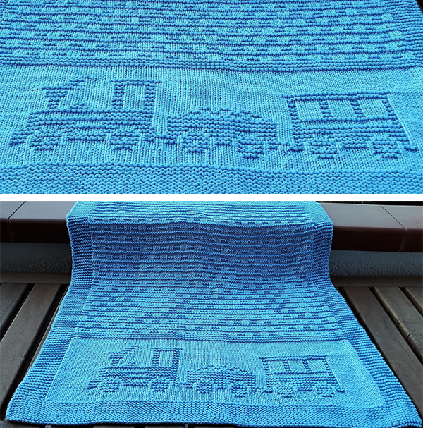 Free Knitting Pattern for Choo Choo Baby Blanket