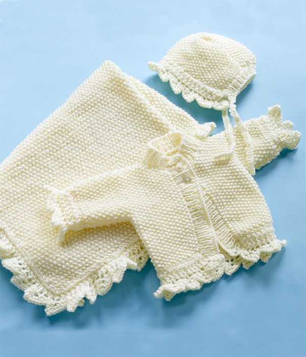 Free Knitting Pattern for Christening Set