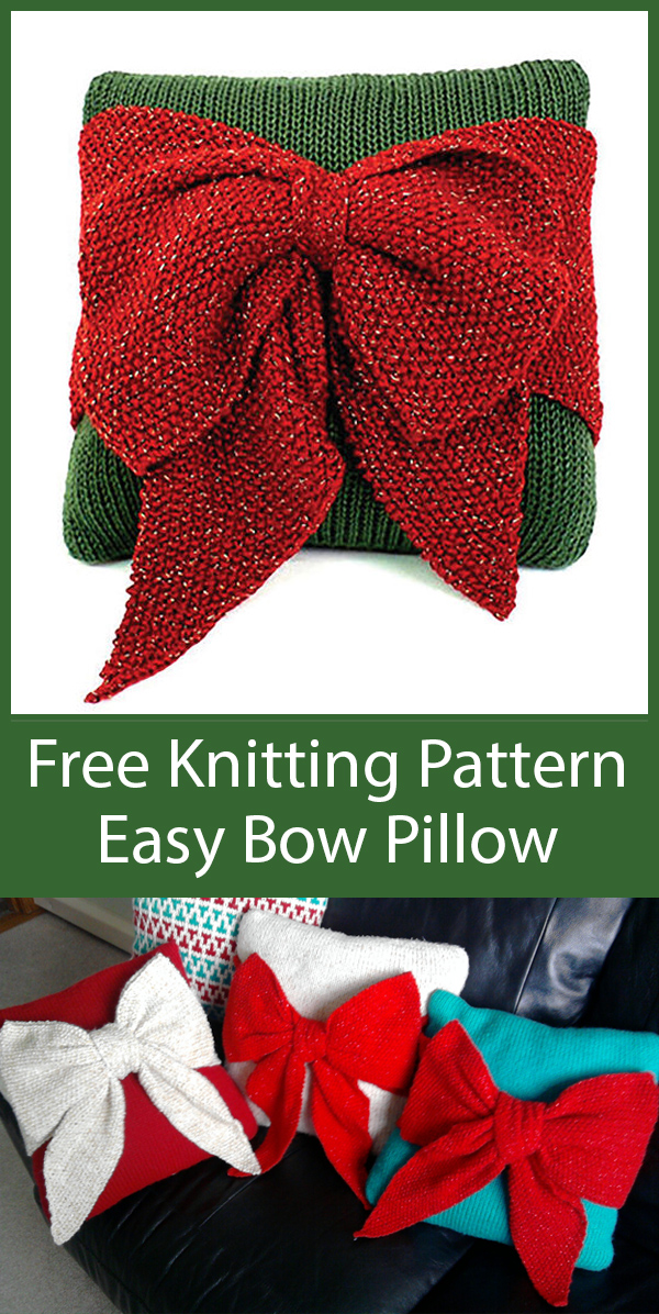 Free Knitting Pattern for Easy Christmas Bow Pillow