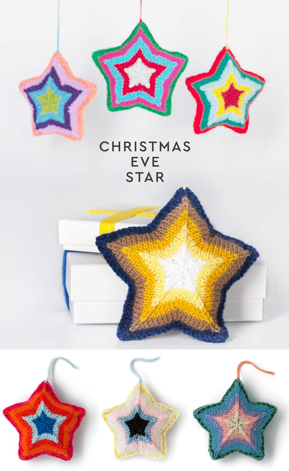 Free Knitting Pattern for Christmas Eve Star Ornament