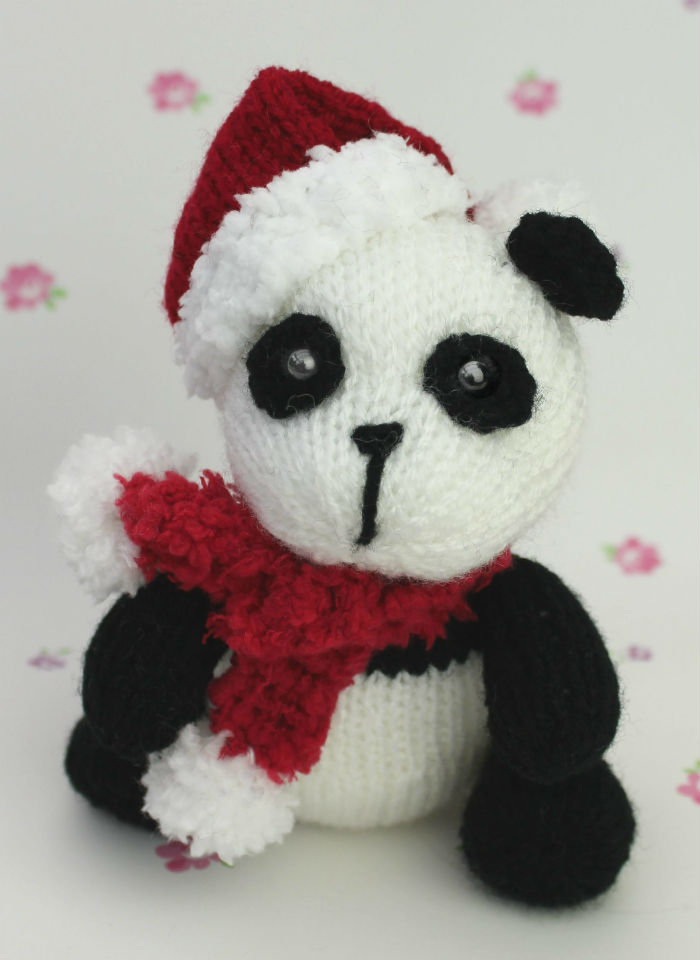 Free Knitting Pattern for Christmas Panda