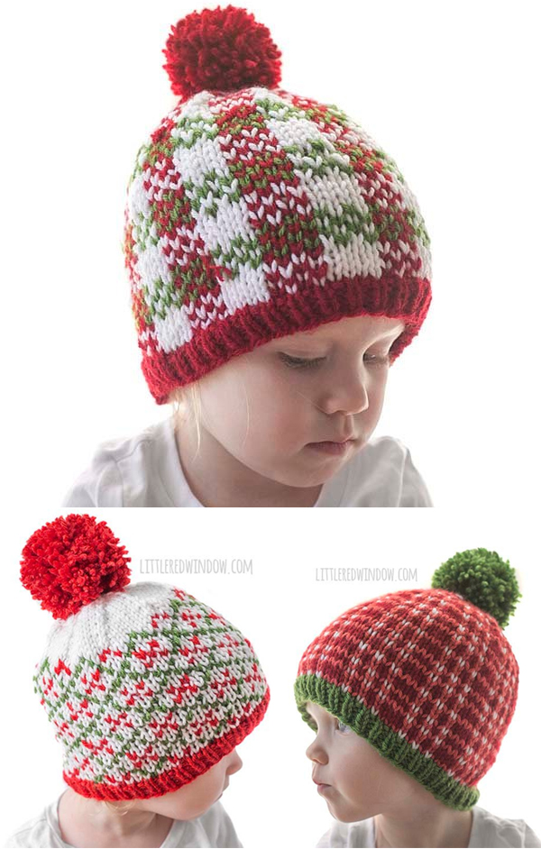 Knitting Pattern for Plaid Baby Hats Pattern Bundle