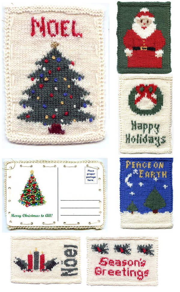 Free Knitting Pattern for Christmas Postcards