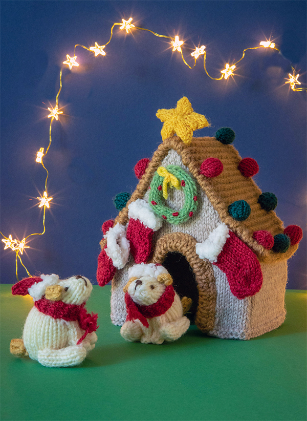 Free Knitting Pattern for Christmas Puppies and Doghouse