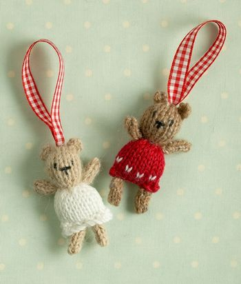 Free knitting pattern for Christmas Tree Bears tiny toys