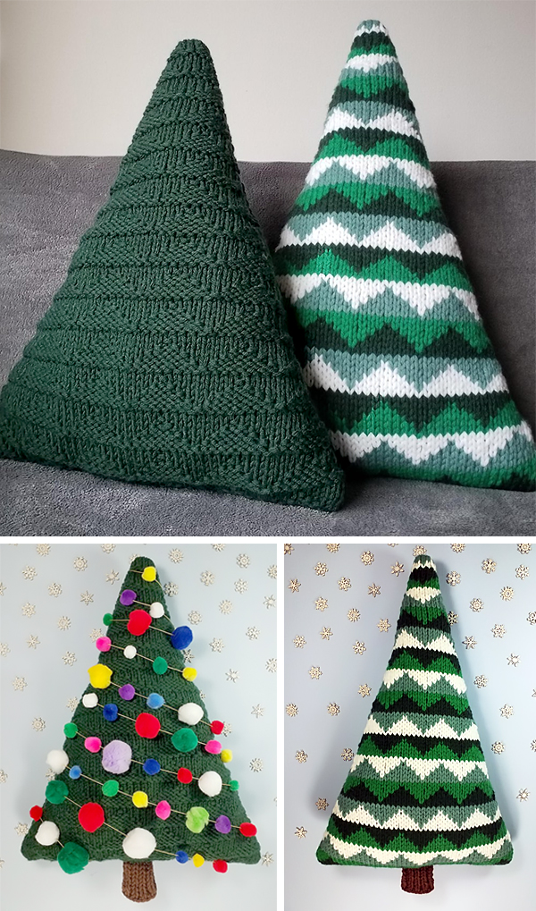 Free Knitting Pattern for Christmas Tree Cushions