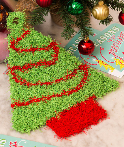 Free knitting pattern for Christmas Tree Scrubby