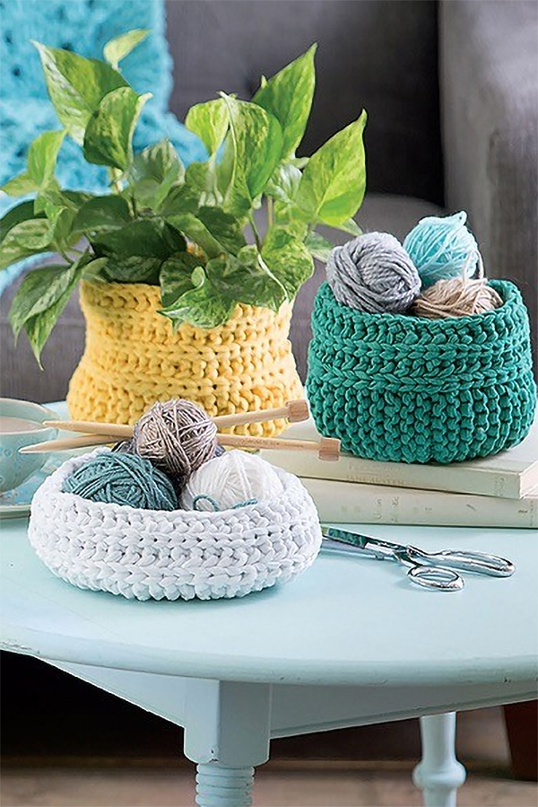 Knitting Pattern for Basket Set