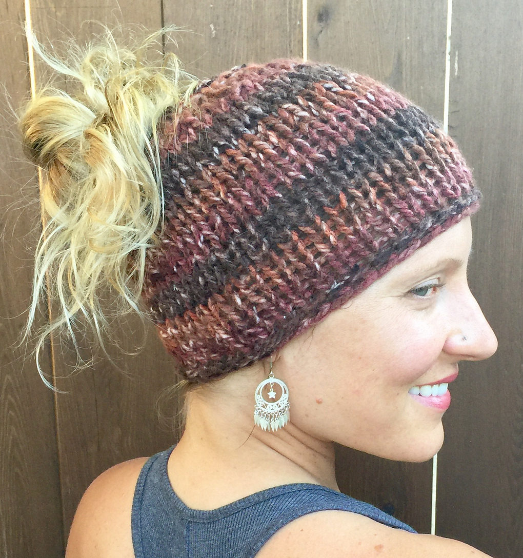 Free Knitting Pattern for Chunky Knit Messy Bun Hat