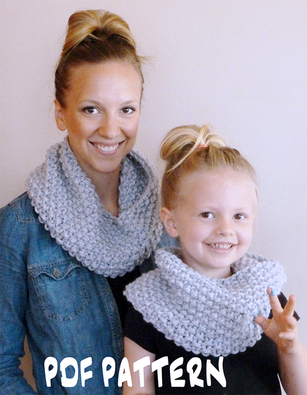Knitting Pattern for Easy Chunky Textured Cowl in All Sizes