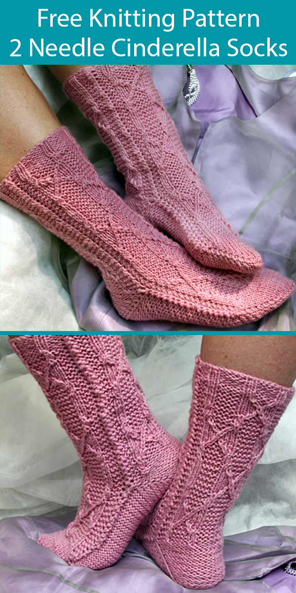 Free Knitting Pattern for 2 Needle Seamless Cinderella Socks