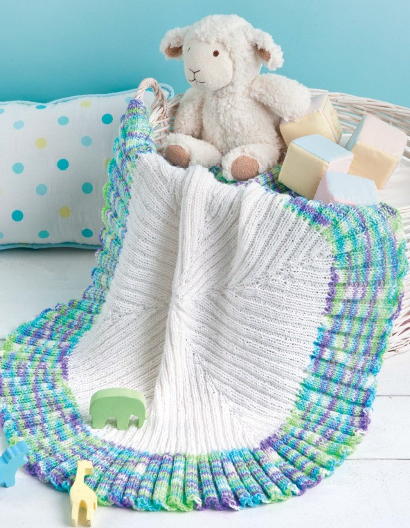 Knitting Pattern for Ruffled Circle Baby Blanket