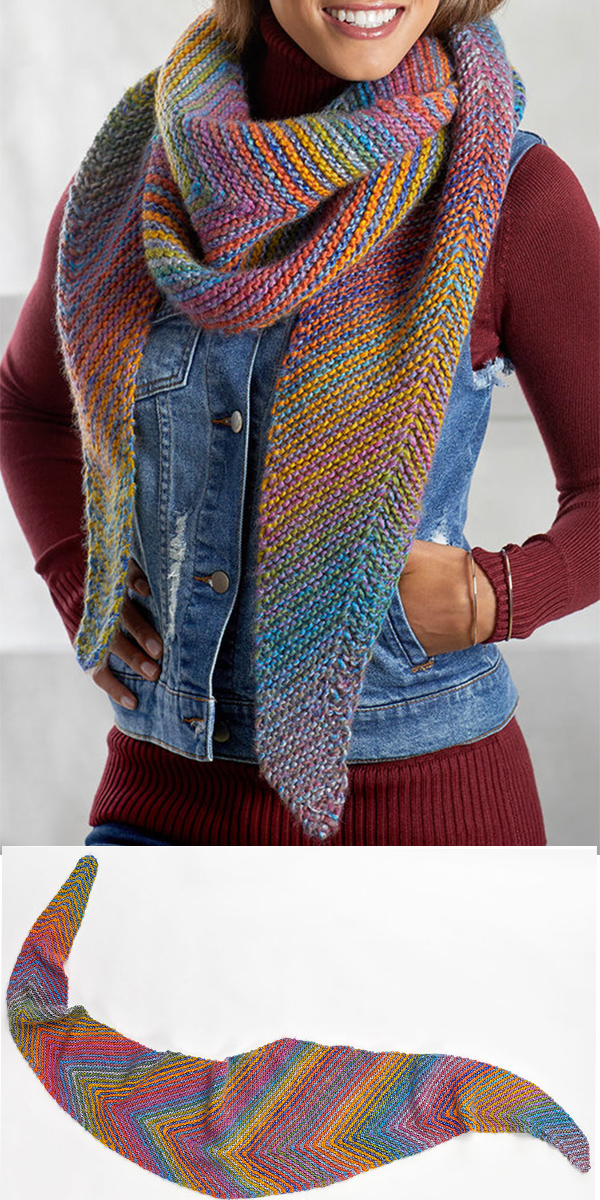 Free Knitting Pattern for Easy Cityscape Shawl