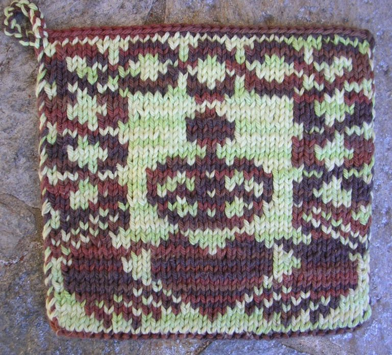 Free Knitting Pattern for Claddagh Potholder