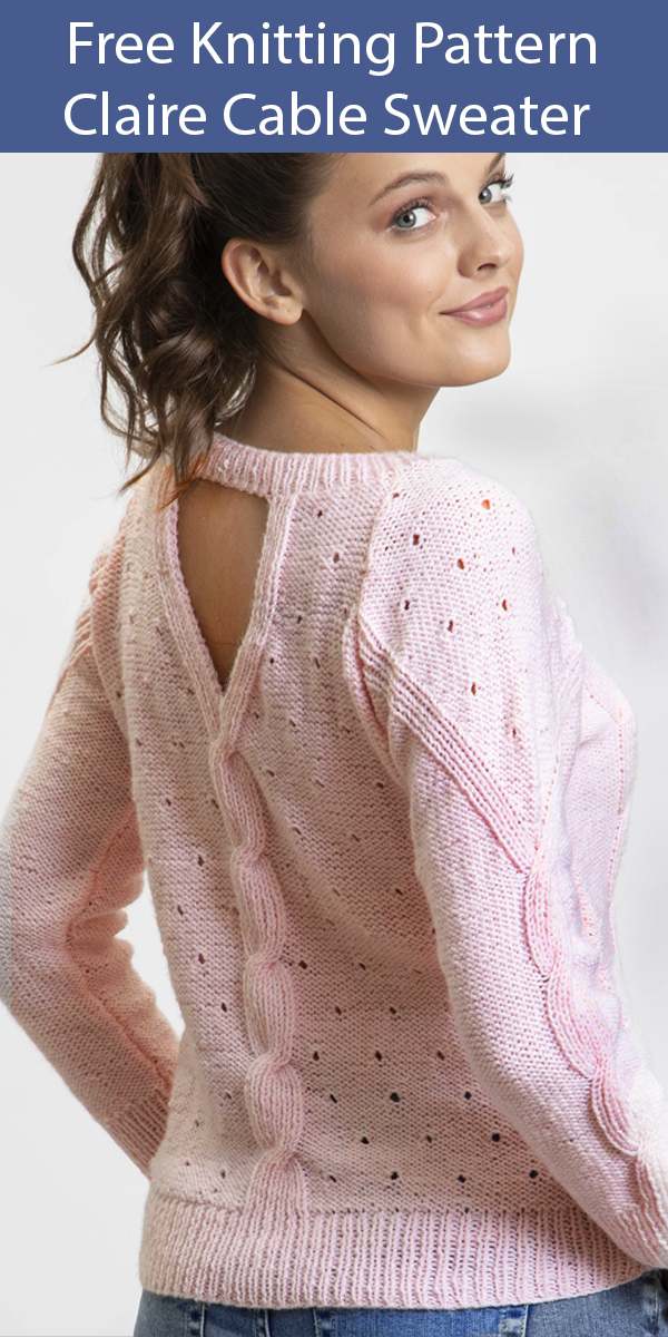 Free Knitting Pattern for Claire Cable Sweater