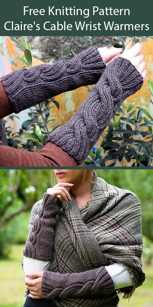 Free Knitting Pattern for Outlander Claire's Cable Wrist Warmers