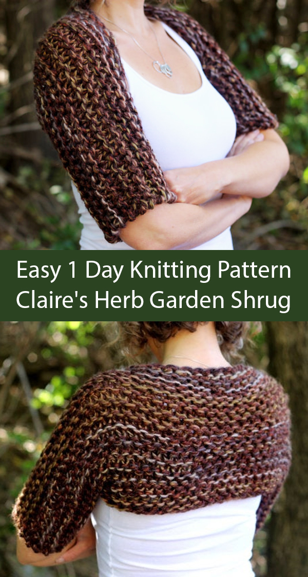 Knitting Pattern for Outlander Claire's Herb Garden Shrug