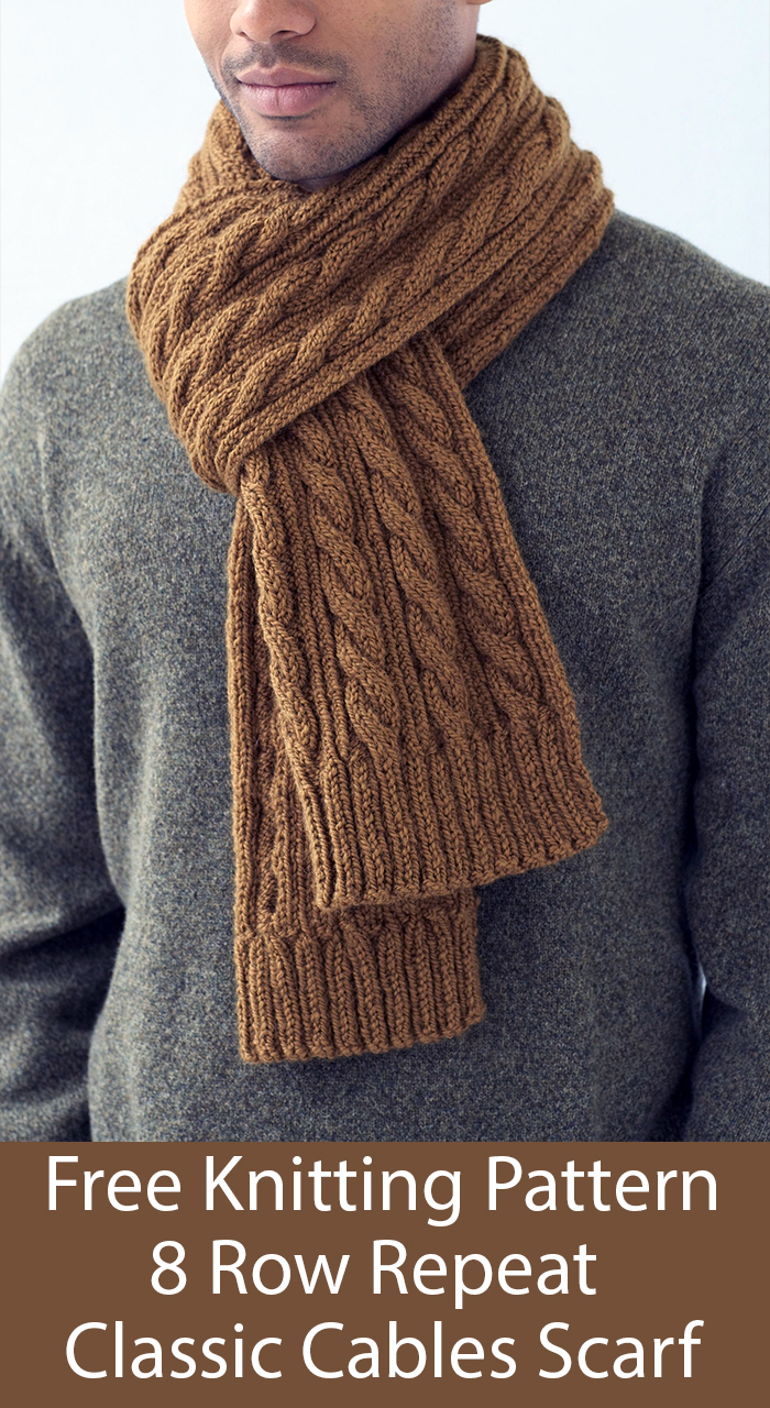 Free Knitting Pattern for 8 Row Repeat Classic Cables Scarf