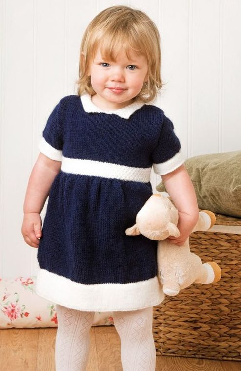 Knitting pattern for Deramores Dress for Baby or Girl