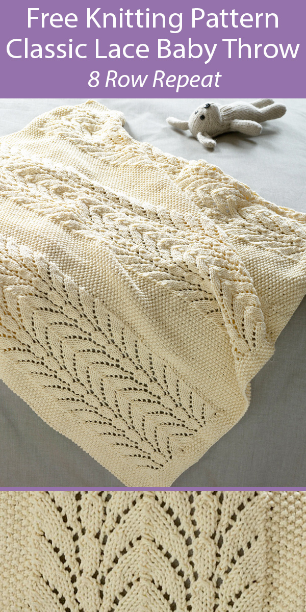 Free Knitting Pattern for Classic Lace Baby Throw Blanket