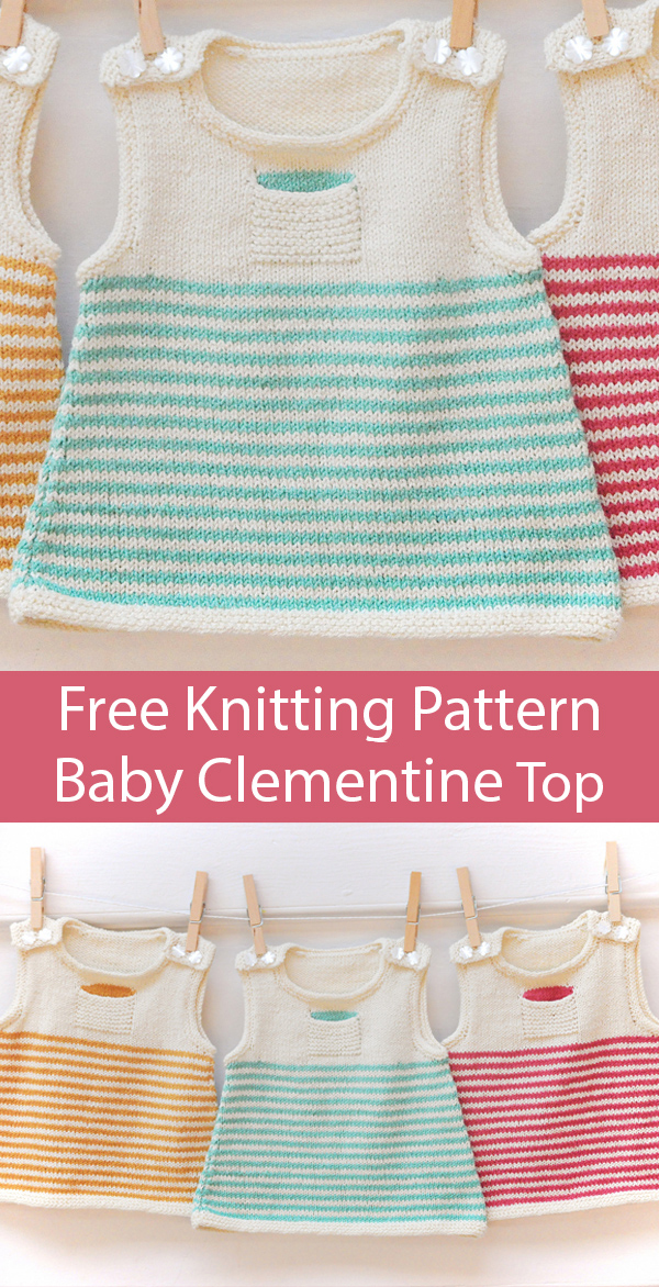 Free Knitting Pattern for Clementine Baby Dress or Top