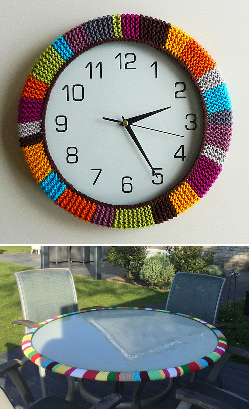 Free Knitting Pattern for Easy Clock Cozy