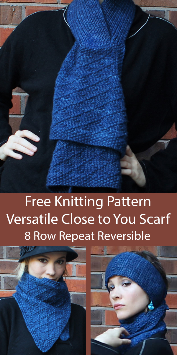 Free Knitting Pattern for 8 Row Repeat Versatile Reversible Close to You Scarf