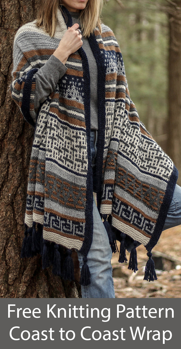 Free Knitting Pattern for Coast to Coast Wrap