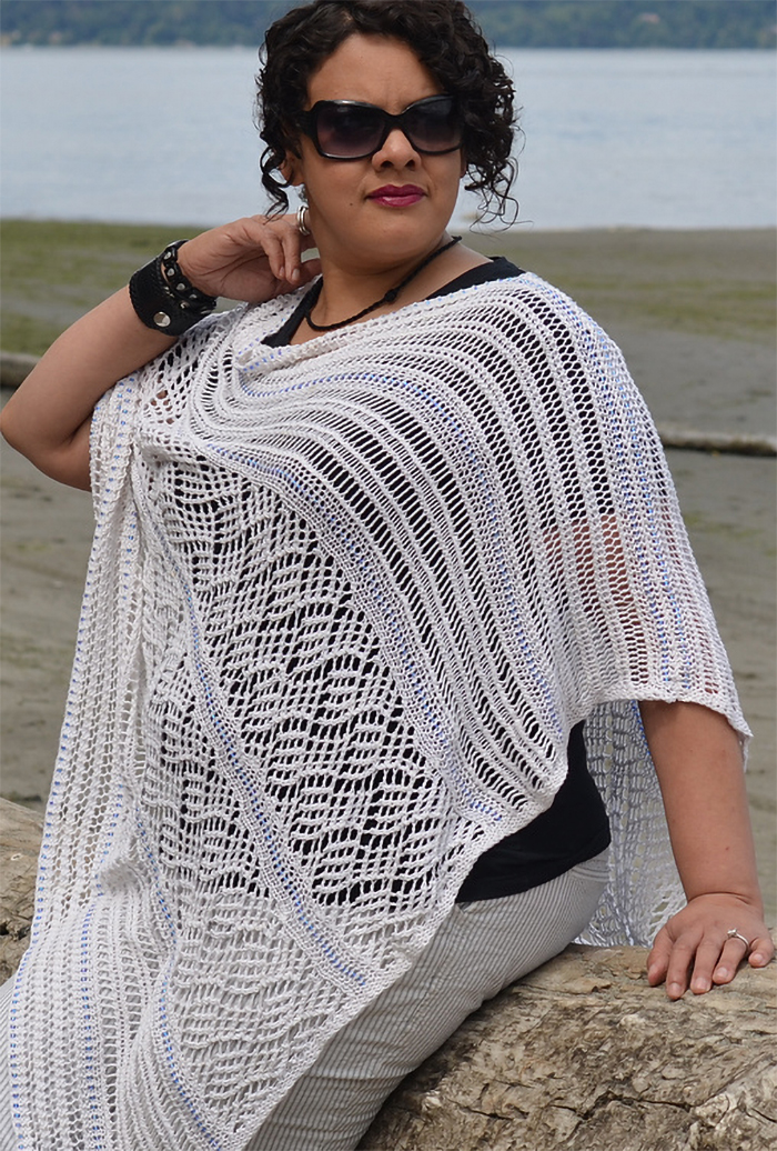Free Knitting Pattern for Cocktails on Mykonos Poncho