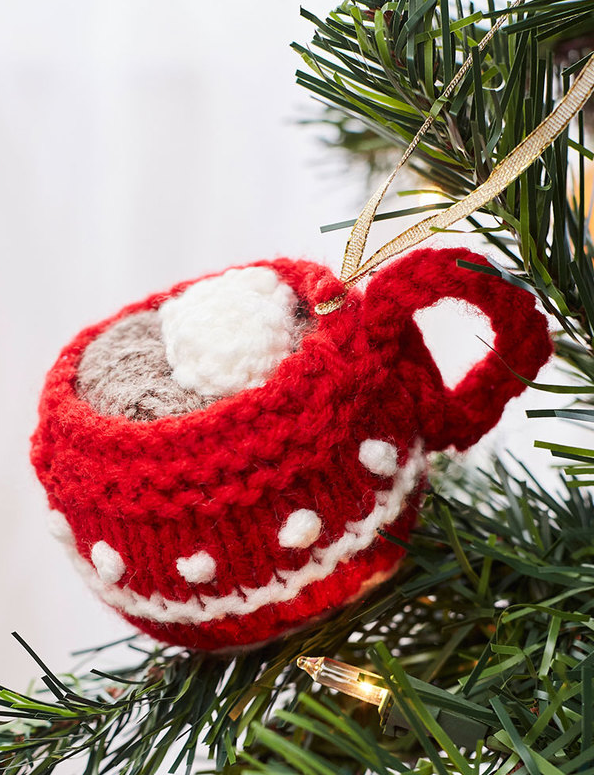 Free Knitting Pattern for Cup of Cocoa Ornament