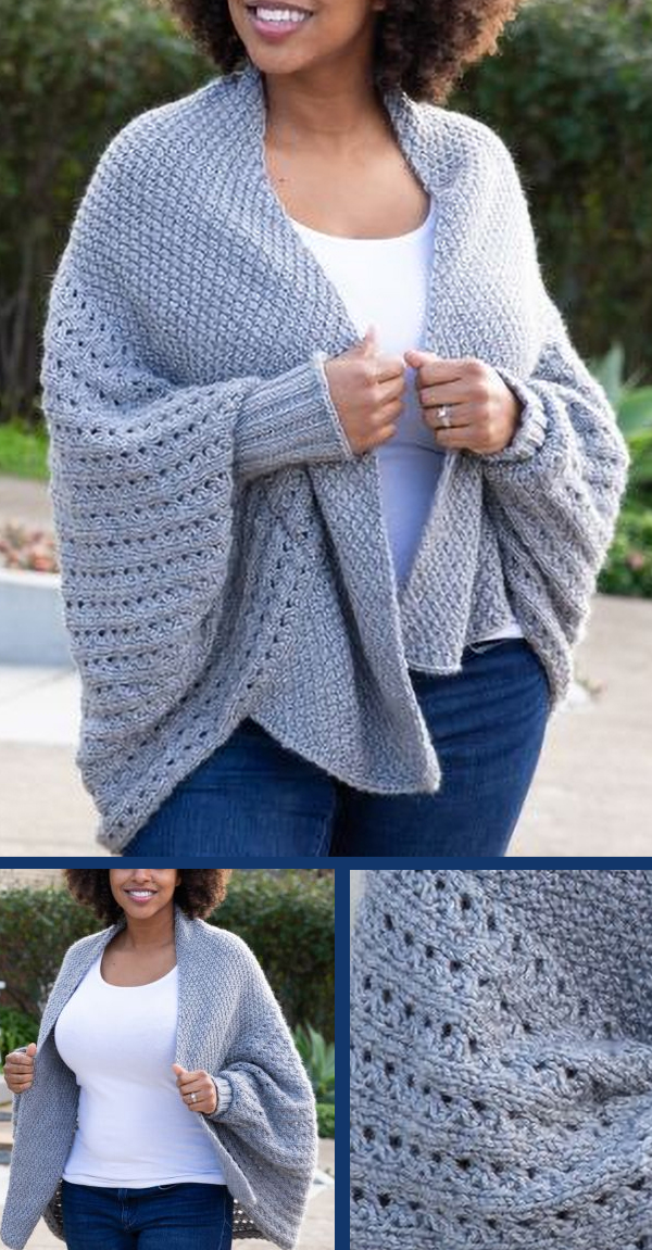 Free Knitting Pattern for Cocoon Cardigan