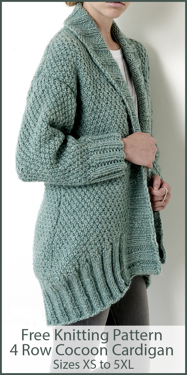 Free Knitting for 4 Row Cocoon Cardigan Sizes XS to 5XL in Super Bulky Yarn