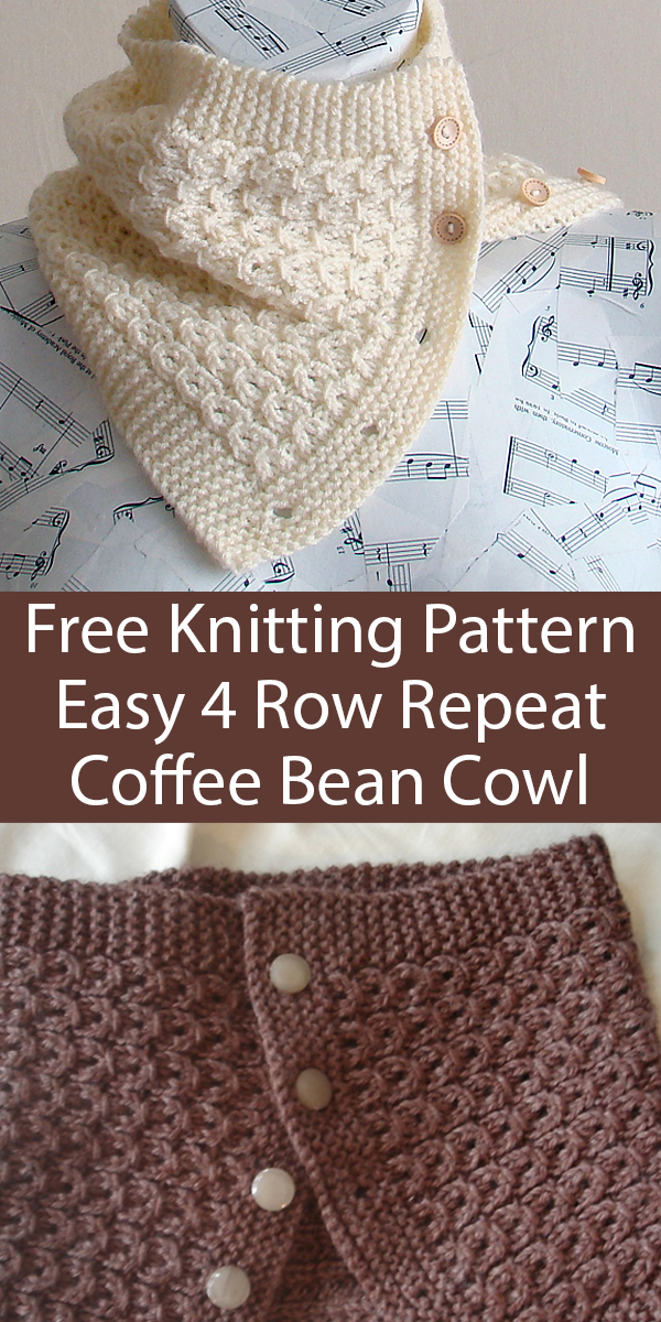 Free Knitting Pattern for Easy 4 Row Repeat Coffee Bean Cowl