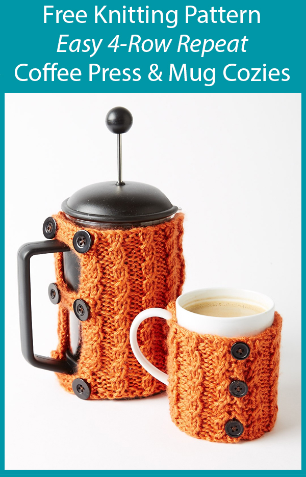 Free Knitting Pattern for Easy 4-Row Repeat Coffee Press and Mug Cozies