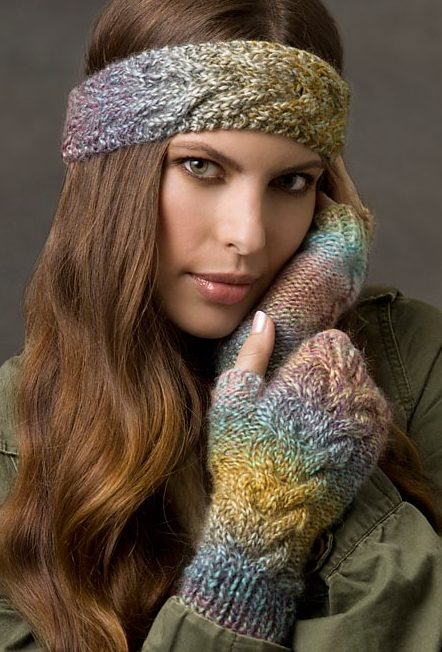 Free knitting patterns for Cold Weather Cables fingerless mitts and headband